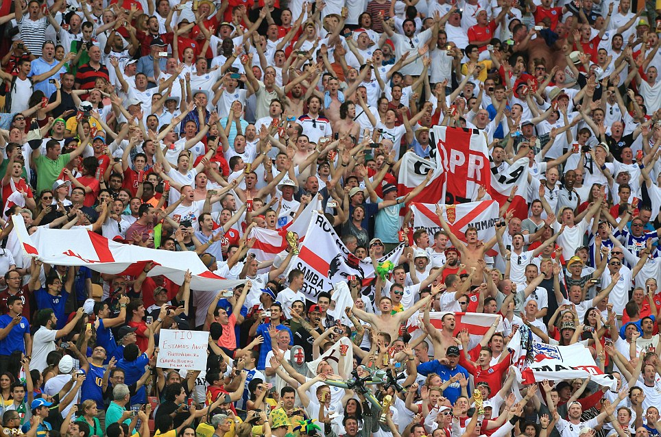 Come on England! Fans from all over England held up banners and flags in the Amazonian heat - and things were hotting up on the pitch as much as in the stands