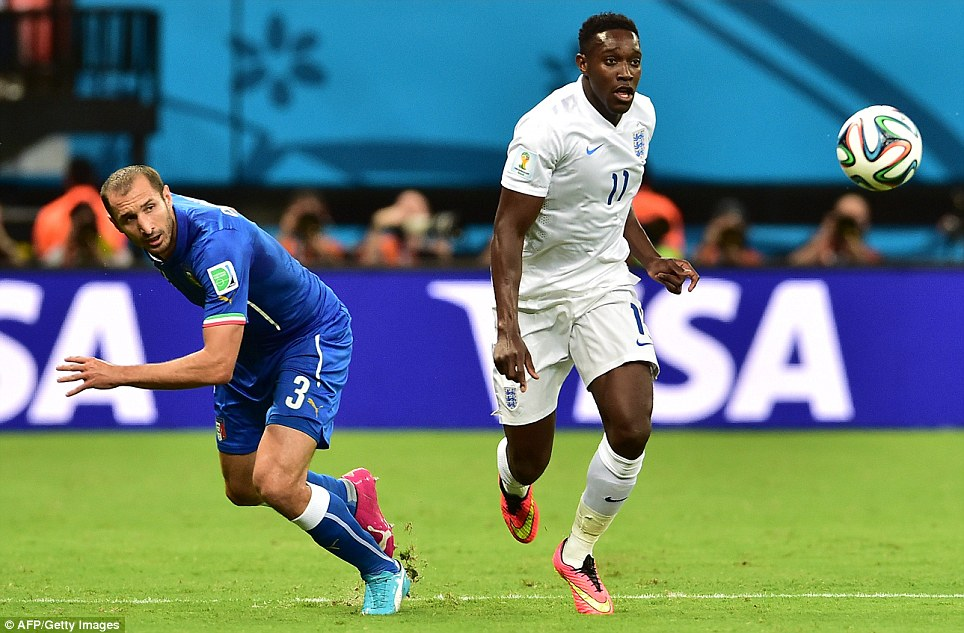 Go for it Danny! Welbeck led the charge for England as the team scored several near-misses in the first half. Pictured: Welbeck and Italy's defender Giorgio Chiellini