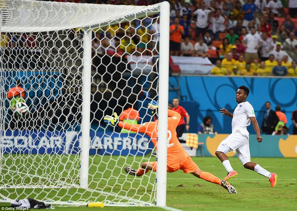 GOAL! Sturridge pulled the Three Lions level just two minutes after the Italians thought they had gone out in front, slipping the ball past the stand-in goalie