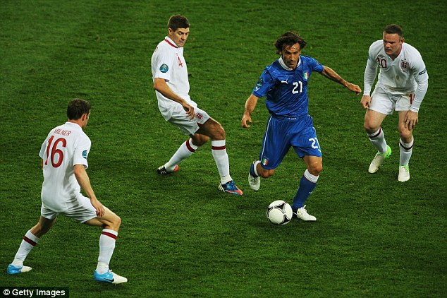 Instrumental: Andrea Pirlo (second right) gave England a torrid time in Italy's Euro 2012 victory over the Three Lions