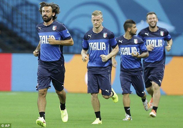 Key to success: Andrea Pirlo (left) will hope to pull the creative strings for Italy from midfield