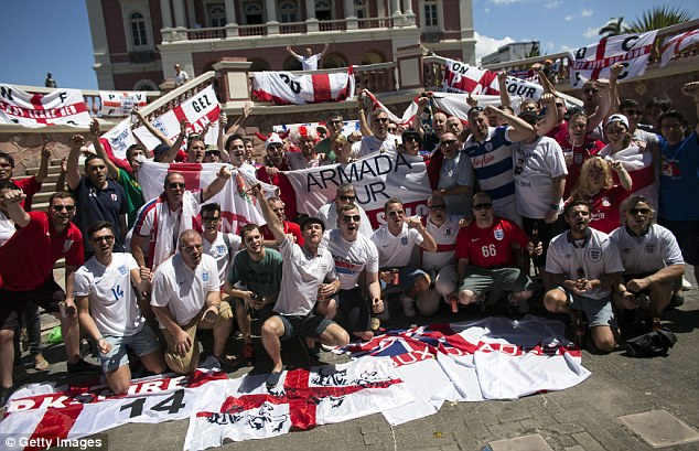Cheering on the Three Lions: England fans gather in Manaus to support their team