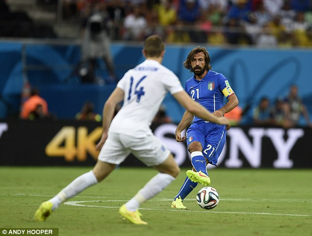 Pass master: Andrea Pirlo is shadowed by Jordan Henderson as he tries to get into that metronomic passing rhythm