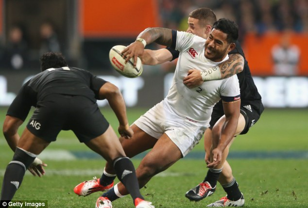 Power out wide: Tuilagi used his immense strength for this offload to set up Chris Ashton's try