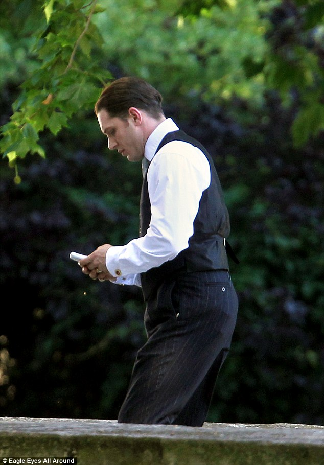 Groom: Tom can be seen rehearsing his lines ahead of filming scenes with Emily Browning