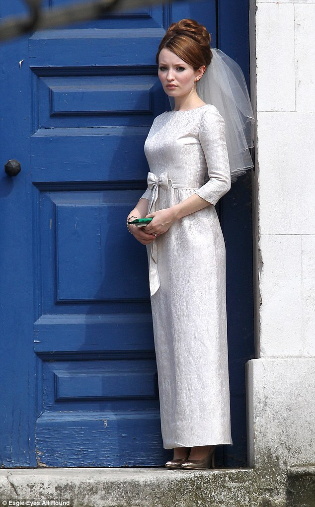 Dress to impress: Emily Browning sported a classic-style wedding dress  as the bride