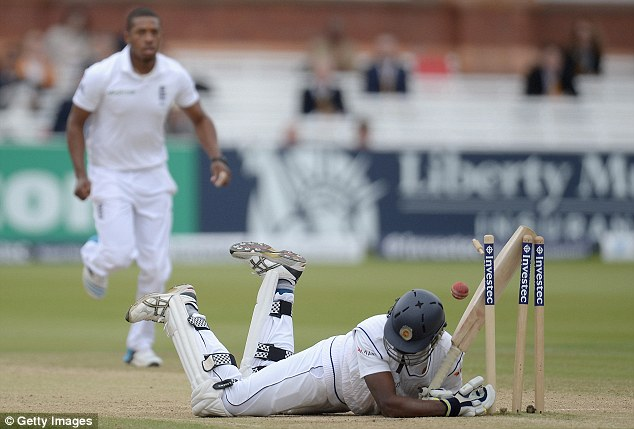 Ouch: Pradeep was left stunned by the bowling of Jordan who snared his man