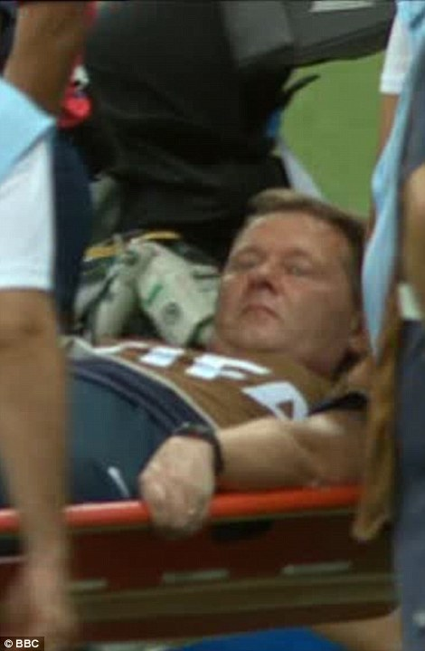 Tumble in the jungle: It was confirmed that long-standing England physio Gary Lewin had dislocated his ankle in unusual scenes