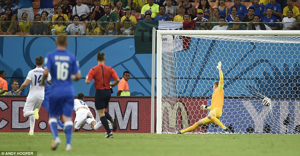 Pulling ahead: Balotelli's goal in the 50th minute was a blow for the Lions - who kept fighting as they continued on their offensive to open the World Cup campaign