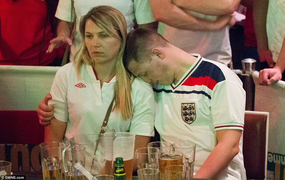 It's all too much! One fan reacted to the end of a very long Saturday at a branch of the Walkabout sports bar in Bristol - in the only way possible