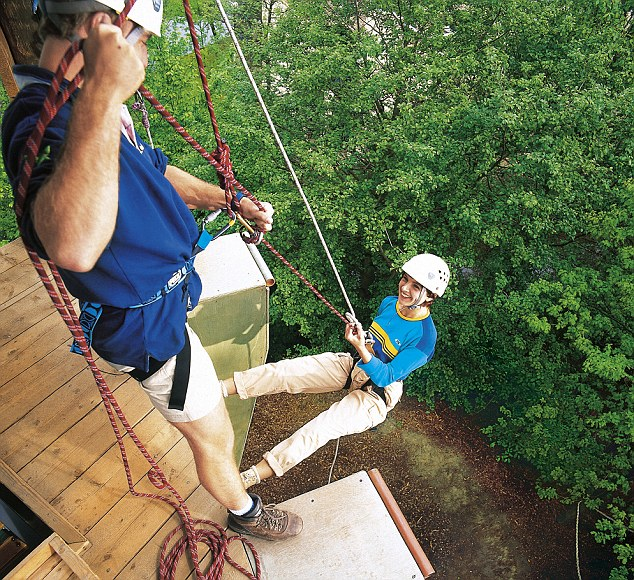 On the rise: Activities at Center Parcs include abseiling