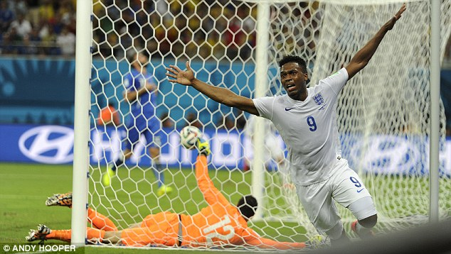 Net gains: Sturridge throws his arms in the air in celebration