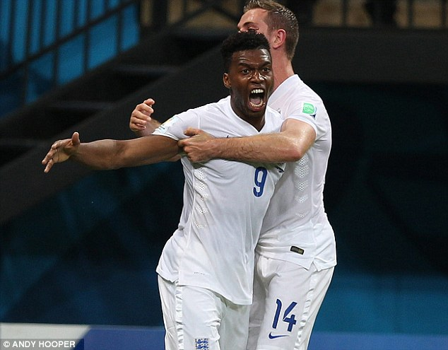 Roar talent: Daniel Sturridge lets it all out after scoring England's equaliser against Italy