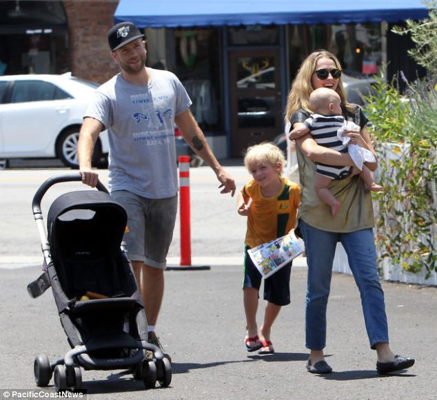 The clan is all here: Teresa and Bodhi were also joined by her husband Mark Webber and his son Isaac Love