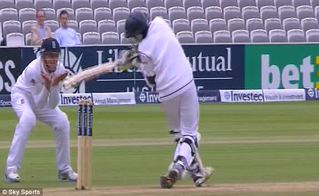 Impact: Pradeep swings in vain as the ball crashes into his head