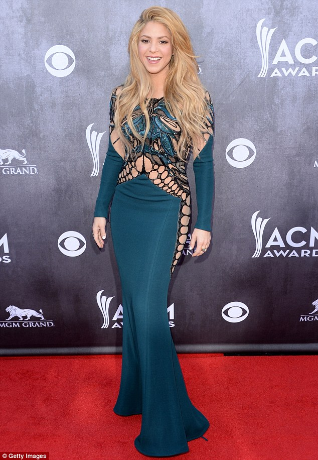 Proud mother: Shakira, pictured here at the Annual Academy Of Country Music Awards in Las Vegas on April 6, celebrated her family on Sunday