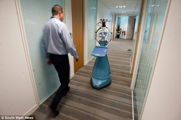 Bob the autonomous android can even speak to his colleagues, ask for help when he gets stuck, and plug himself in to charge when his battery runs low. The 6ft tall blue machine is part of a £7.2 million ($12.2 million) robot pilot project by the University of Birmingham to get robots in offices around the world