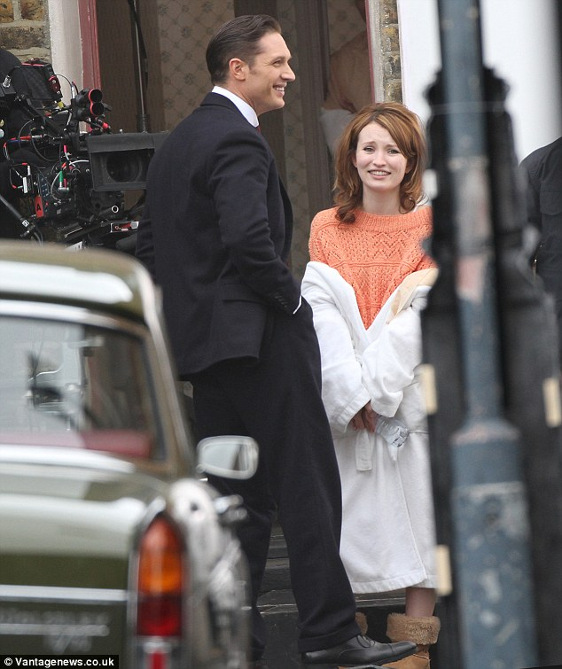 Good times: The two actors have a laugh on set