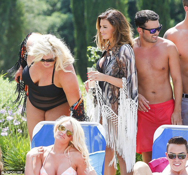 Altogether: The TOWIE cast were out in force to enjoy what looked like the final day of filming