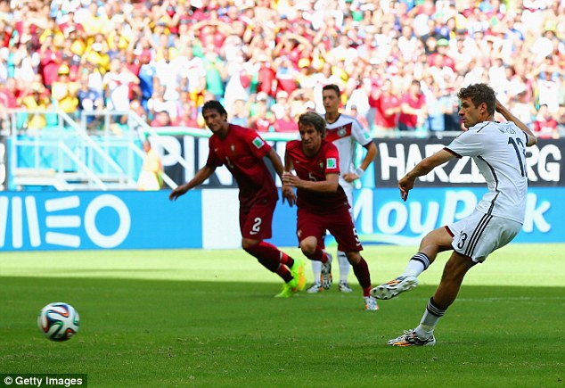 German engineering: Germany take a deserved lead after Thomas Muller scores from the penalty spot