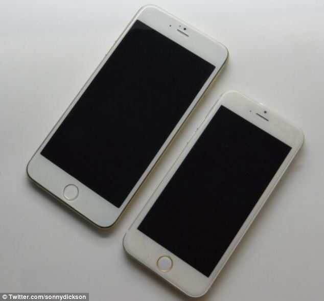 A leaked image, posted on Twitter by  SonnyDickson in June, shows the difference in size between the current iPhone 5S (left) and the 'iPhone6' (left)