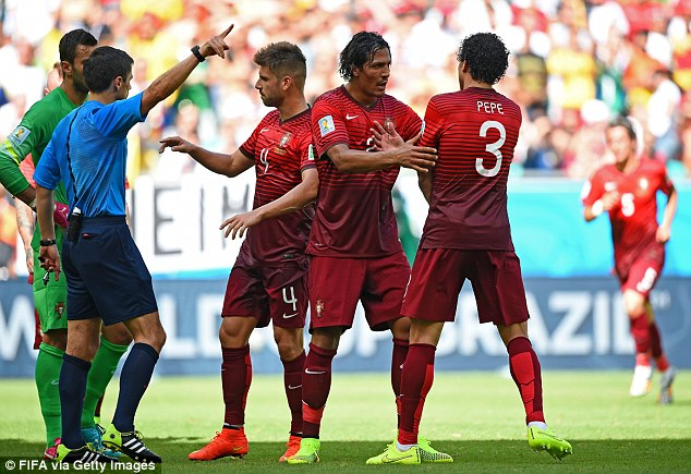 Early shower: The referee sends Pepe off for the thirteenth time in his career - and in the country of his birth