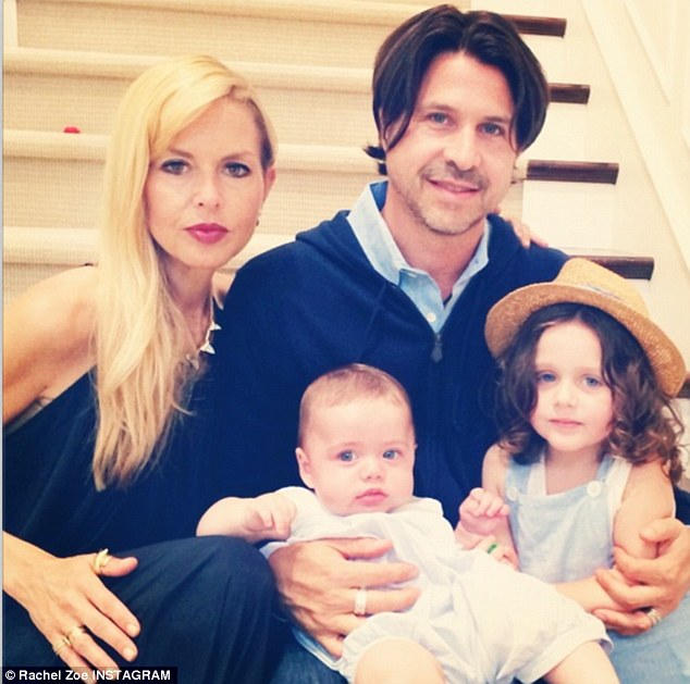 Family portrait: Rachel shared a photo of her husband Rodger Berman and their three-year-old son Skyler and six-month-old Kai