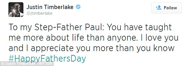 Heartfelt tweet: Justin Timberlake thanks his stepfather Paul on Father's Day