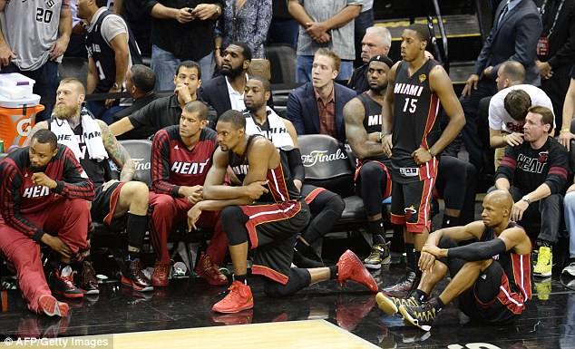 The Miami Heat bench watching with disappointment in the fourth quarter of the game