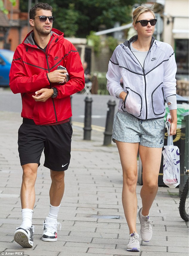 Similar attire: The Russian sportswoman went for the comfort option on her feet in the shape of a pair of Nike trainers