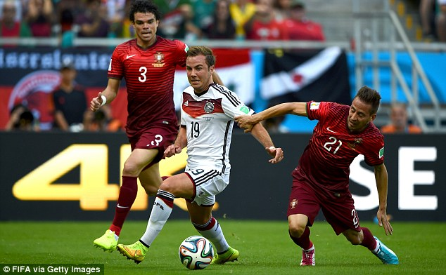 Foul: Mario Gotze (centre) is brought down by Joao Pereira (right) for Germany's early penalty