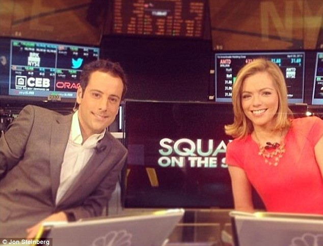 Instagram update: Mr Steinberg has recently posted photos of himself appearing on CNBC with fellow presenters such as Kayla Tausche (pictured) for the technology and media programme Squawk Alley