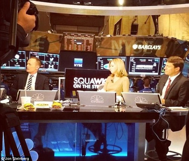 On set: Mr Steinberg - a prolific Instagrammer - has posted multiple pictures from the set of CNBC's technology and media programme