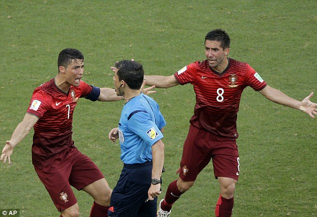 Going ballistic! Cristiano Ronaldo pleads in vain after referee Milorad Mazic denies Portugal a late penalty