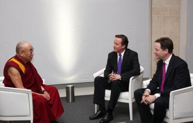 Relations between China and Britain were plunged into the deep freeze in 2012 after David Cameron and Deputy PM Nick Clegg met the Dalai Lama