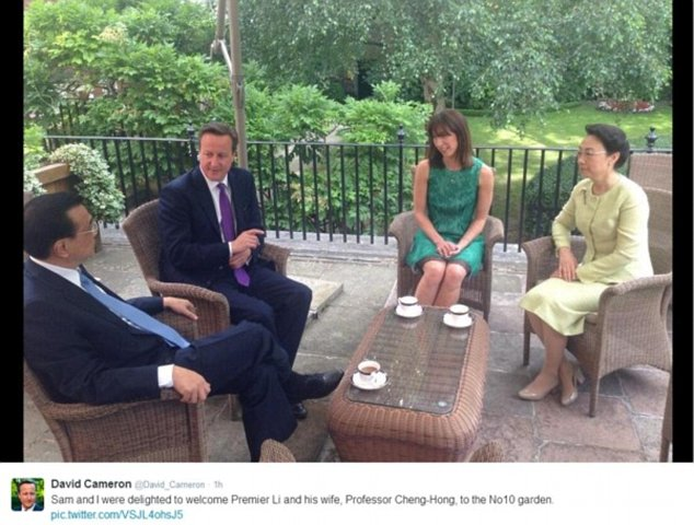 Mr Cameron and Mr Li also enjoyed tea in the Number 10 garden with their wives, Samantha and Prof Cheng-Hong
