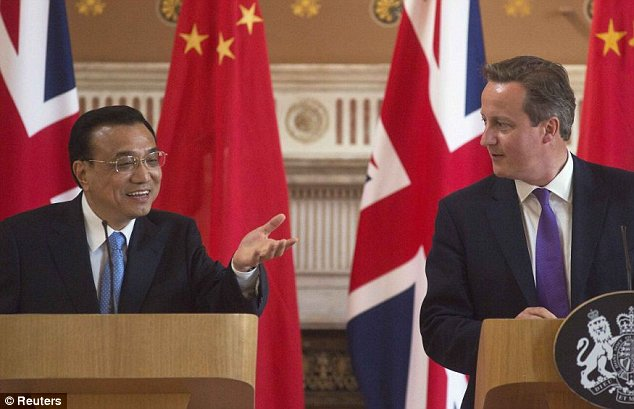 Chinese PremierLi Keqiang used a press conference alongside David Cameron in Downing Street towarn he wanted to see a 'strong, prosperous and united United Kingdom'