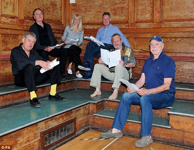 From left to right - Terry Jones, Eric Idle, Carol Cleveland,  Michael Palin, Terry Gilliam and John Cleese rehearse in London for their new show Monty Python Live (mostly) which is on at the O2 Arena in London in July