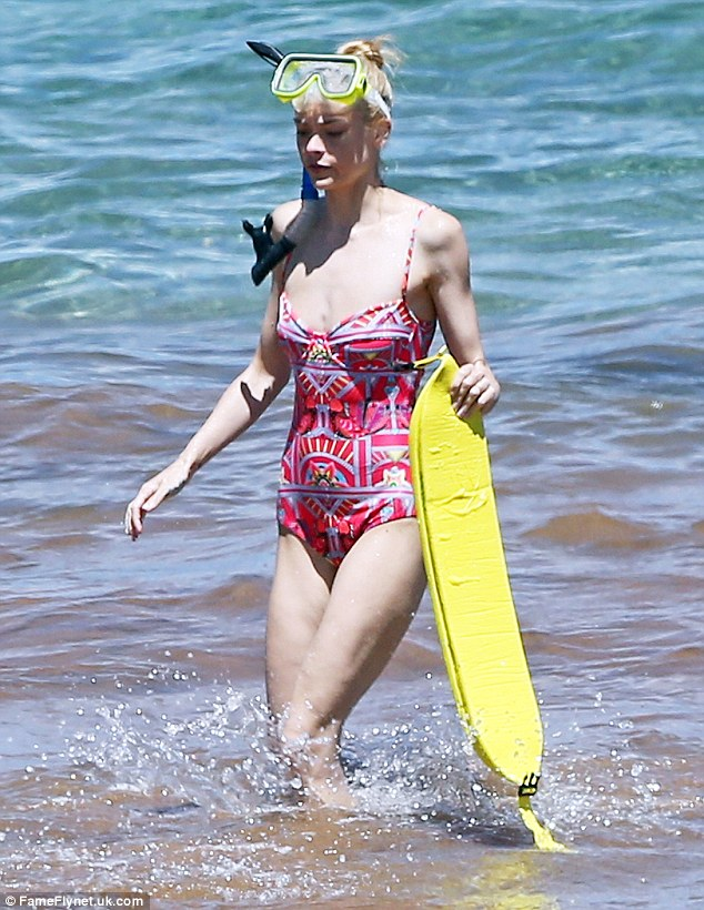 Incredible: The toned actress looked confident as she strutted her toned physique in the water