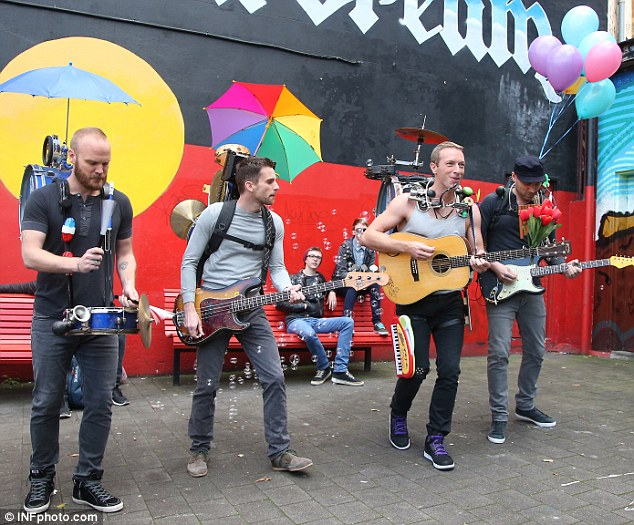 Coldplay serenaded thousands of fans on the set of their new music video shoot for the song for A Sky Full Of Stars in Sydney's Newtown on Tuesday