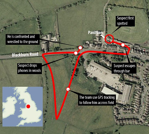 Map showing the route cricket players took to catch the thief who stole phones from their dressing room