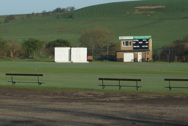 The suspect sneaked into the changing rooms at Church and Oswaldtwistle cricket ground (pictured)