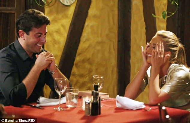Just the TOW of us: Lydia and Arg were seen laughing and joking during a dinner date in Marbella's old town