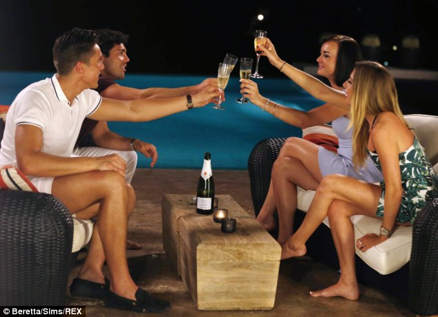 That's how it starts: Lewis Bloor, Tom Pearce,  Imogen Leaver and Robyn Althasen enjoy a bottle of Cava by the pool at the 'boys villa'