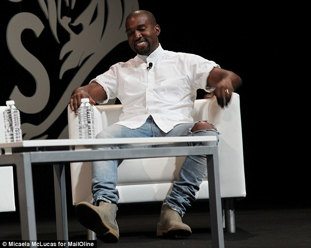 In love: Kanye spoke about his affection for his new wife during a talk at the Cannes Lions festival
