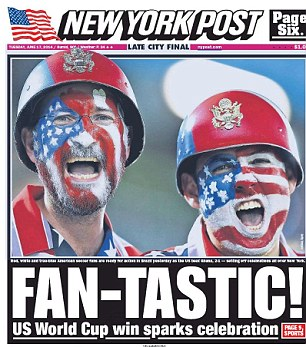 Celebrations: Fan pictures dominated the front page of the New York Post