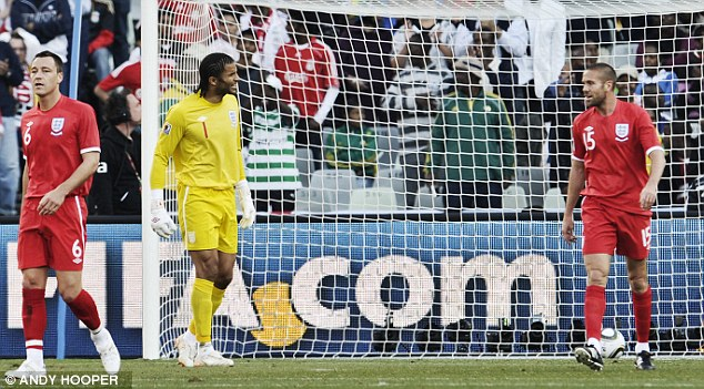 Shambles: The 2010 included David James and Matthew Upson, who was embarrassed against Germany