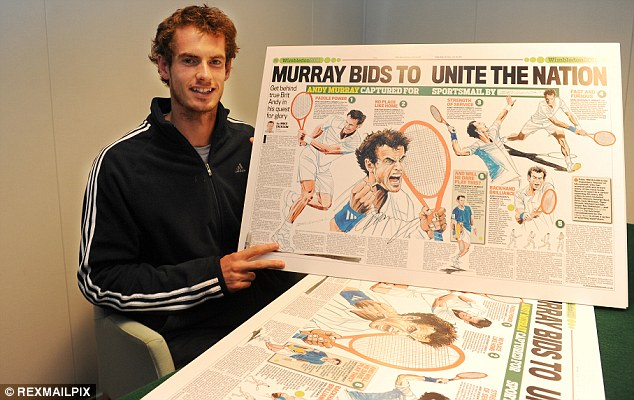 Net gain: A thrilled Andy Murray with a Daily Mail spread featuring Paul Trevillion's depiction of the Briton