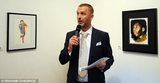 Tribute: Daily Mail and MailOnline Head of Sport Lee Clayton speaks at the Trevillion exhibition