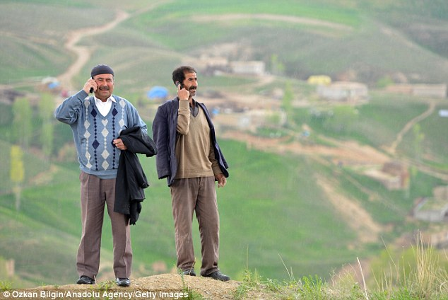 'Hello? I'm on a mountain!' The region is isolated near the Iranian border and can be cut off in the winter snow
